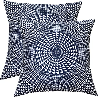 SLOW COW Velvet Cozy Decorative Throw Pillow Covers Kaleidoscope Design Accent Pillow Covers Cushion Covers for Sofa Couch Bedroom 18x18 Inches Navy Blue, Set of 2