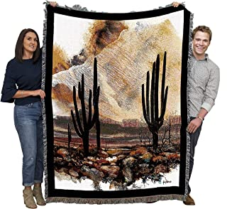 Pure Country Weavers Large Southwest Blanket 100% Cotton, Woven Tapestry Cactus Desert Blanket, Iconic Fringe Design, Native American Inspired Pattern, Tribal Camp Throw Made in USA (72x54)
