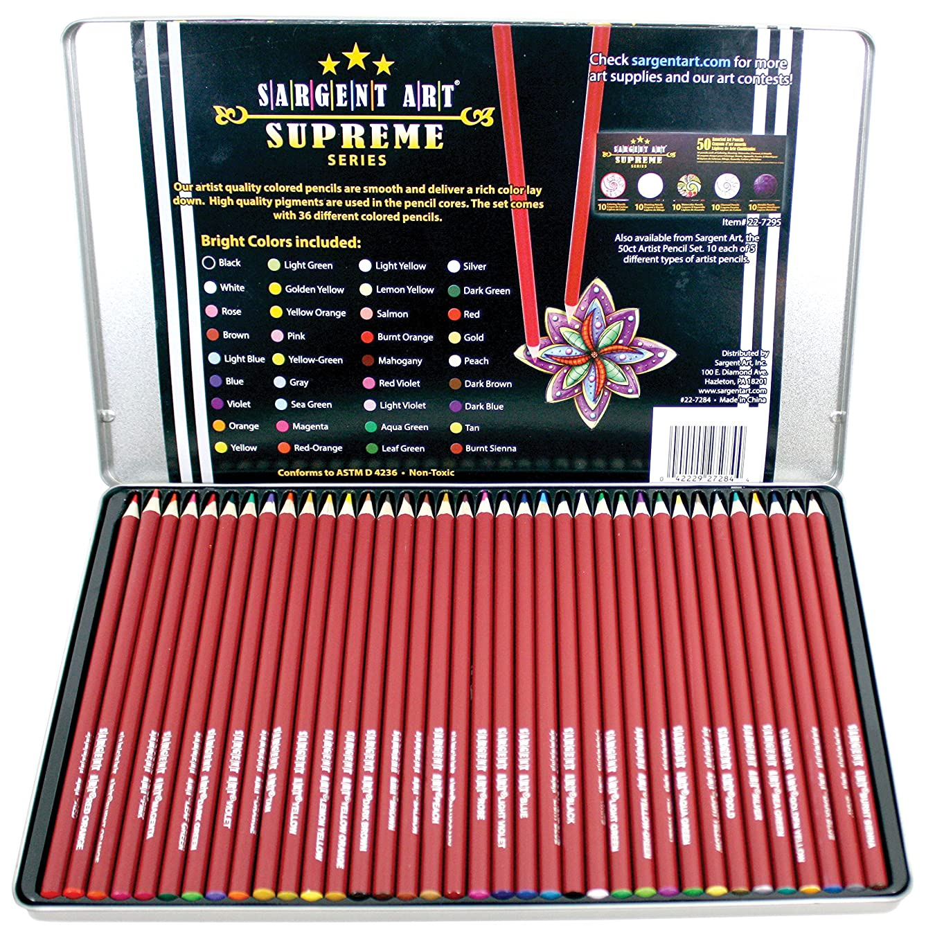 Sargent Art 22-7284 36 Count Supreme Artist Colored Pencil Set with Tin Storage Case
