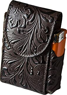 Portasigarette, porta pacchetto sigarette con porta accendino, Vera Pelle - Etabeta Artigiano Toscano - Made in Italy (For...