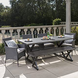 Christopher Knight Home Owenburg Outdoor 6 Piece Grey Aluminum Dining Set with Bench and Grey Wicker Dining Chairs with Silver Water Resistant Cushions