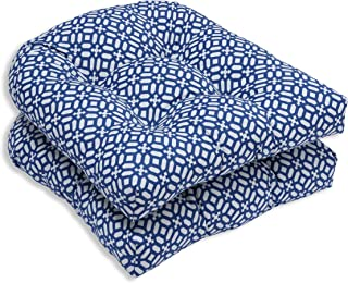 Pillow Perfect Outdoor/Indoor in The Frame Wicker Seat Cushion (Set of 2), Sapphire