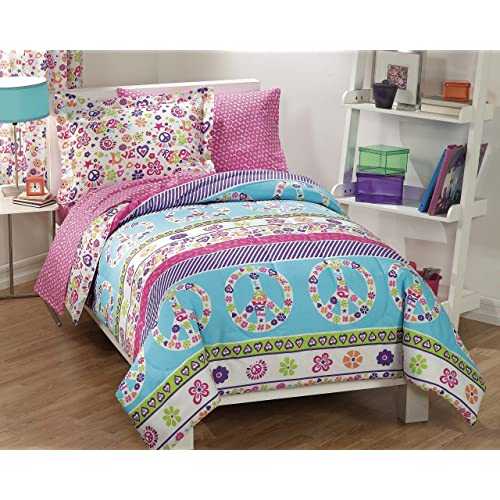 Dream Factory Peace And Love Peace Signs Girls Comforter Set,  Multi Colored, Twin