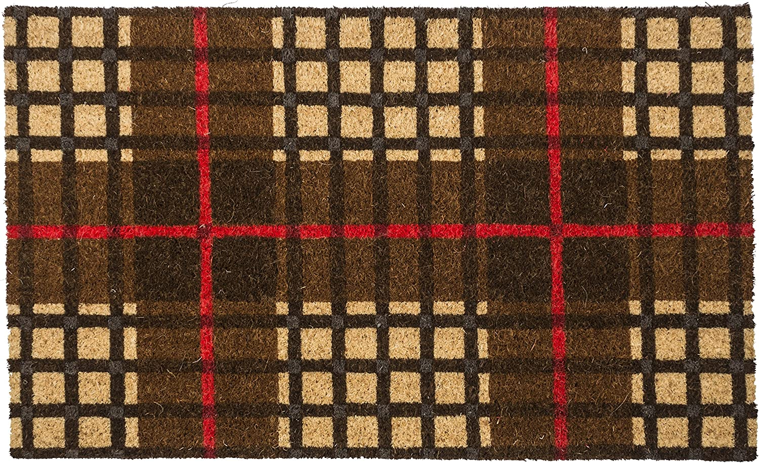 Entryways Plaid Non Slip Coir Doormat, Brown Red