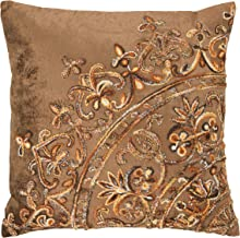 Bloomingville Brown Square Cotton Velvet Embroidery Pillow