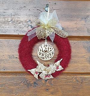 Ghirlanda Natalizia con Scritto Merry Christmas e Fiori di Natale, Idea Regalo/Decorativa per Natale