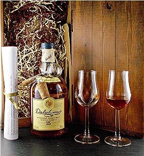 Geschenk Dalwhinnie 15 Jahre Single Malt Whisky  Glaskugelportionierer  2 Bugatti Gläser
