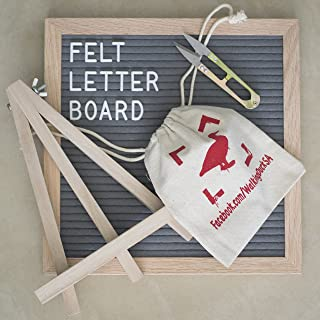 Walking Duck Luxury Letter Board - Gray 10x10 inch Felt Board with Oak Wood Frame and 580 Peg on White Letters, Numbers, Symbols, Emojis - for Creative DIY Messages - Incl. Accessories