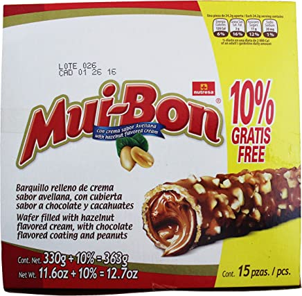Nutresa MuiBon Chocolate and Peanuts Covered Wafer with Hazzelnut Cream Filling (1Pack)