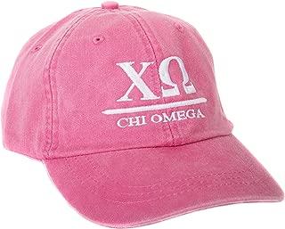 Chi Omega (B) Sorority Embroidered Baseball Hat Cap Cursive Name Font chi o (Hot Pink - B)