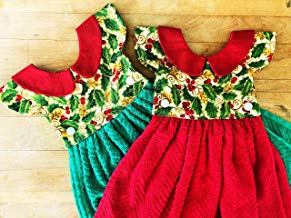 Holly and Ivy Hanging Dress Kitchen Towel, Little Dress Towel, Doll Dress Towel, Holiday Towel, Choice of Green or Red
