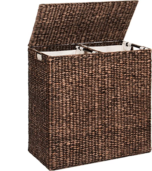 Best Choice Products Water Hyacinth Double Laundry Hamper Basket W 2 Liner Basket Bags Espresso