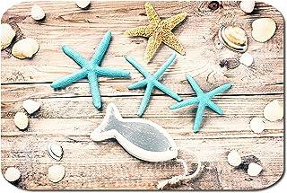 Papillon Impreso Alfombra de Baño Antislip Backing, Poliéster, Estrella de Mar Azul, 60x40cm