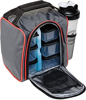 Healthy Packers Insulated Lunch Bag | 10-Piece Set | Portable Hot Cold Meal Prep Adult Lunch Box with Portion Control Food Storage Containers + Ice Pack, Pill Box, Protein Shaker Bottle
