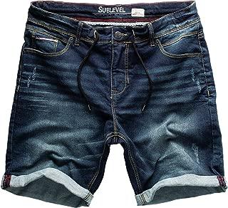 Behype Uomo Jeans-Bermuda Pantaloncini Corti Pantaloni strappati Blu Nuovo