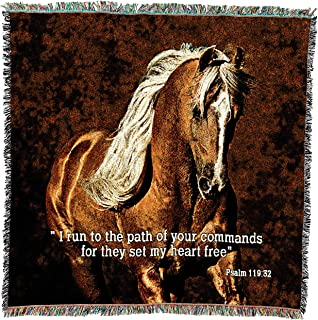 Pure Country Weavers - Golden Boy Horse Scripture Woven Throw Blanket with Fringe Cotton. USA Size 53x53