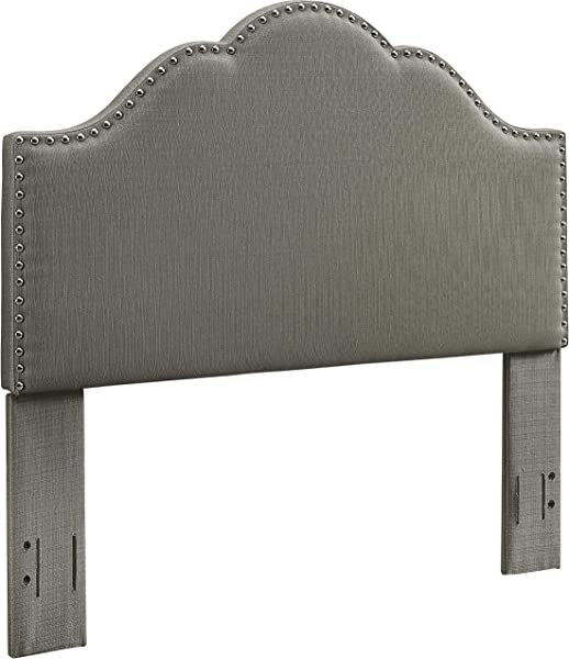Crosley Furniture CF90007 601SH Preston Camelback Upholstered Headboard King Cal King Shadow Gray Linen