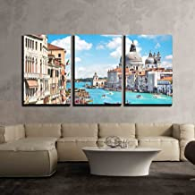 wall26 - 3 Piece Canvas Wall Art - Canal Grande and Basilica Di Santa Maria Della Salute, Venice, Italy - Modern Home Decor Stretched and Framed Ready to Hang - 24