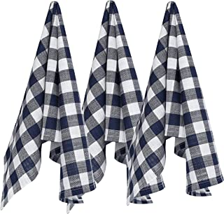 Ruvanti Kitchen Towels,Premium Quality (3 Pack-100% Cotton-20X30) Dish Towels/Bar Towels .Soft, Absorbent Tea Towels .Navy Blue & White Buffalo Check Plaid Lint Free Everyday Cooking Dish Cloths