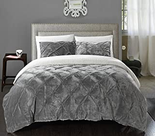 Chic Home 7 Piece Josepha Pinch Pleated Ruffled and Pintuck Sherpa Lined King Bed In a Bag Comforter Set Grey With White Sheets included