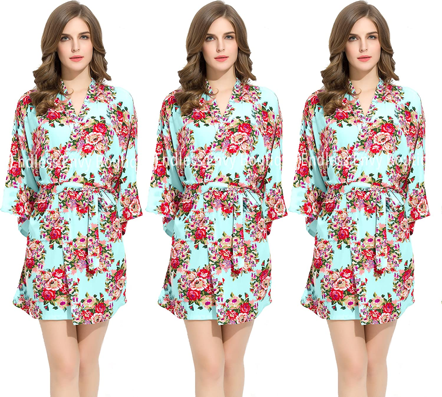 3 Mint Floral Cotton Bridesmaids Robes Wedding Bride Gifts by Endless Envy