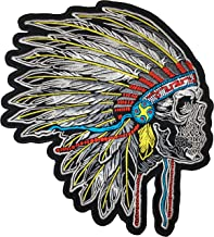 [Large Size] Papapatch Feathered Indian Chief Head Death Skull Biker Motorcycle Jacket Vest Embroidered Sew on Iron on Patch (IRON-FEATHER-INDIAN-03-LARGE)
