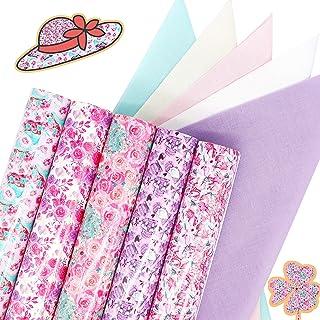 "ZAIONE 5Pcs 11.8"" x 9.8"" Pink Flower Pattern Heat Transfer Vinyl Sheets + 5Pcs 9.8"" x 9.8"" Solid Color Cotton Fabric Rose ..."