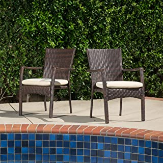 GDF Studio Melba Outdoor Brown Wicker Dining Chair with Beige Cushion (Set of 2)
