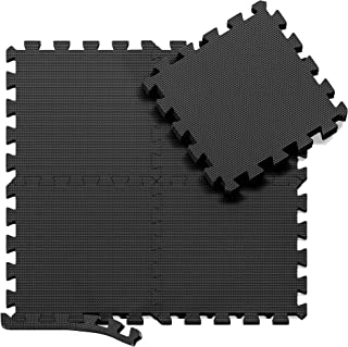 Esterilla Puzzle de Fitness – 18 losas de Goma Espuma + Bordes | Alfombrilla Protectora expandible | Protección para el Suelo | para máquinas de Deporte y gimnasios sobre el Piso | Fácil de Limpiar