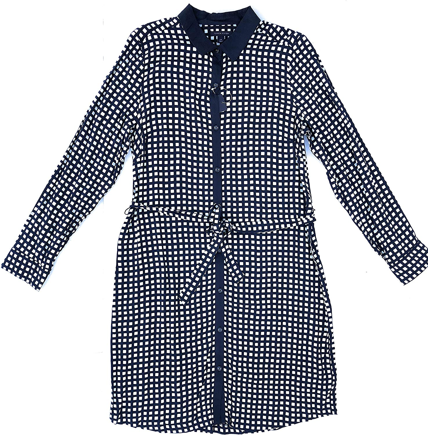 Tommy Hilfiger Women Belted Long Sleeve Plaid Shirtdress, Navy/White, Size L