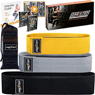 Booty Resistance Hip Bands Set of 3 - Non-Roll Hip Resistance Fabric Bands for Legs and Booty Workout - Train Anywhere with ONESTEP Wide Cloth Anti-Slip Glute Exercise Bands, Women & Men