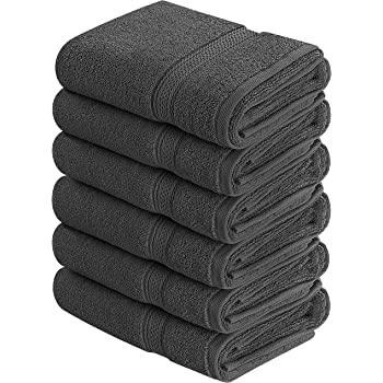 Utopia Towels Premium Grey Hand Towels - 100% Combed Ring Spun Cotton, Ultra Soft and Highly Absorbent, 600 GSM Exrta Large Hand Towels 16 x 28 inches, Hotel & Spa Quality Hand Towels (6-Pack)