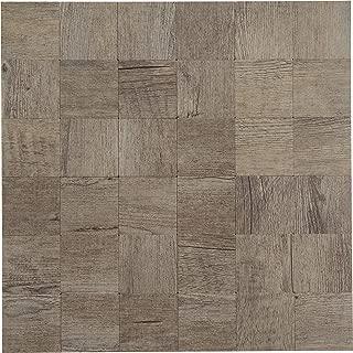 Peel & Stick Stone Tile Backsplash - Metal Wood Square Design - 11.5