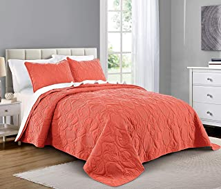 PURE BEDDING Quilt Set Full/Queen Size Coral - Oversized Bedspread - Soft Microfiber Lightweight Coverlet for All Season - 3 Piece Includes 1 Quilt and 2 Shams, Ocean Star Pattern