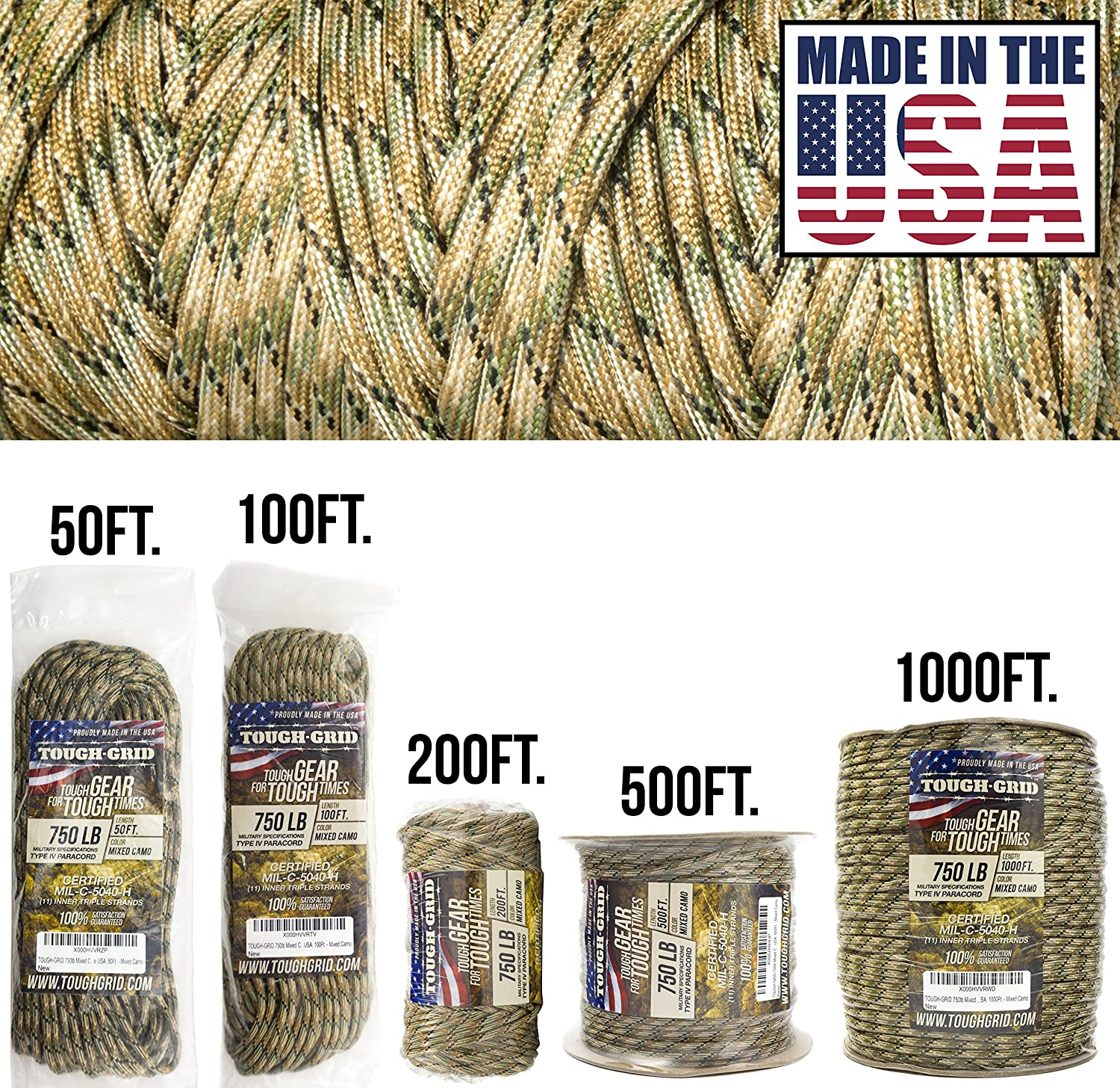 (300m (WOUND ON SPOOL), Mixed Camo)  TOUGHGRID 340kg Paracord Parachute Cord  Genuine Mil Spec Type IV 340kg Paracord Used by the US Military (MIlC5040H)  100% Nylon  Made In The USA.
