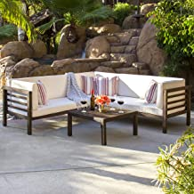 Best Choice Products 4-Piece Acacia Wood Outdoor Patio Sectional Sofa Set with Water Resistant Cushions, Table (Espresso)
