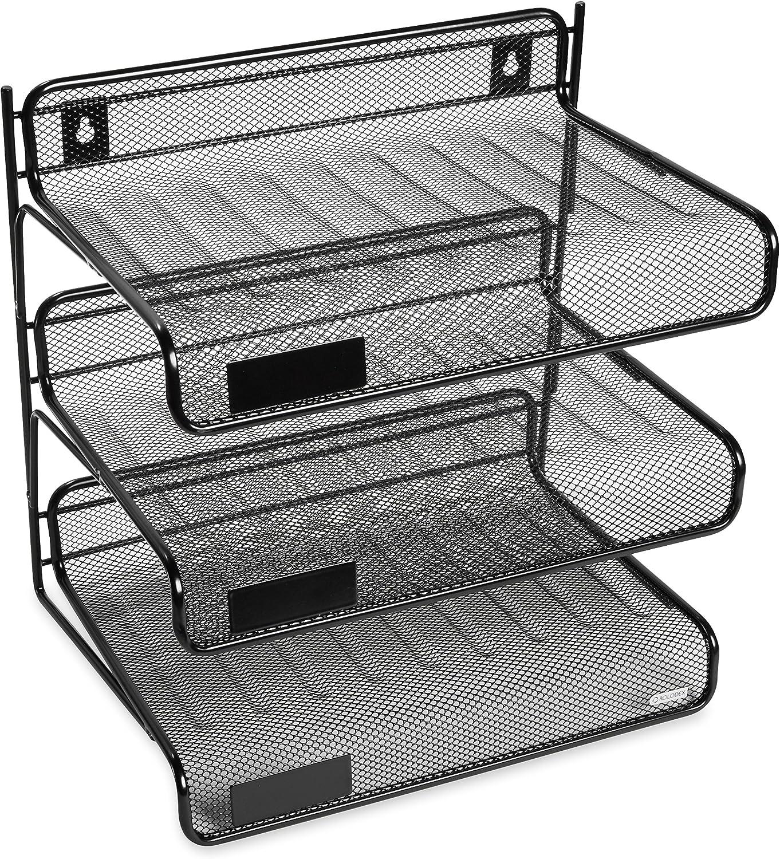 Rolodex Mesh Collection 3-Tier Desk Regular discount Shelf OFFicial mail order Black Letter-Size 2