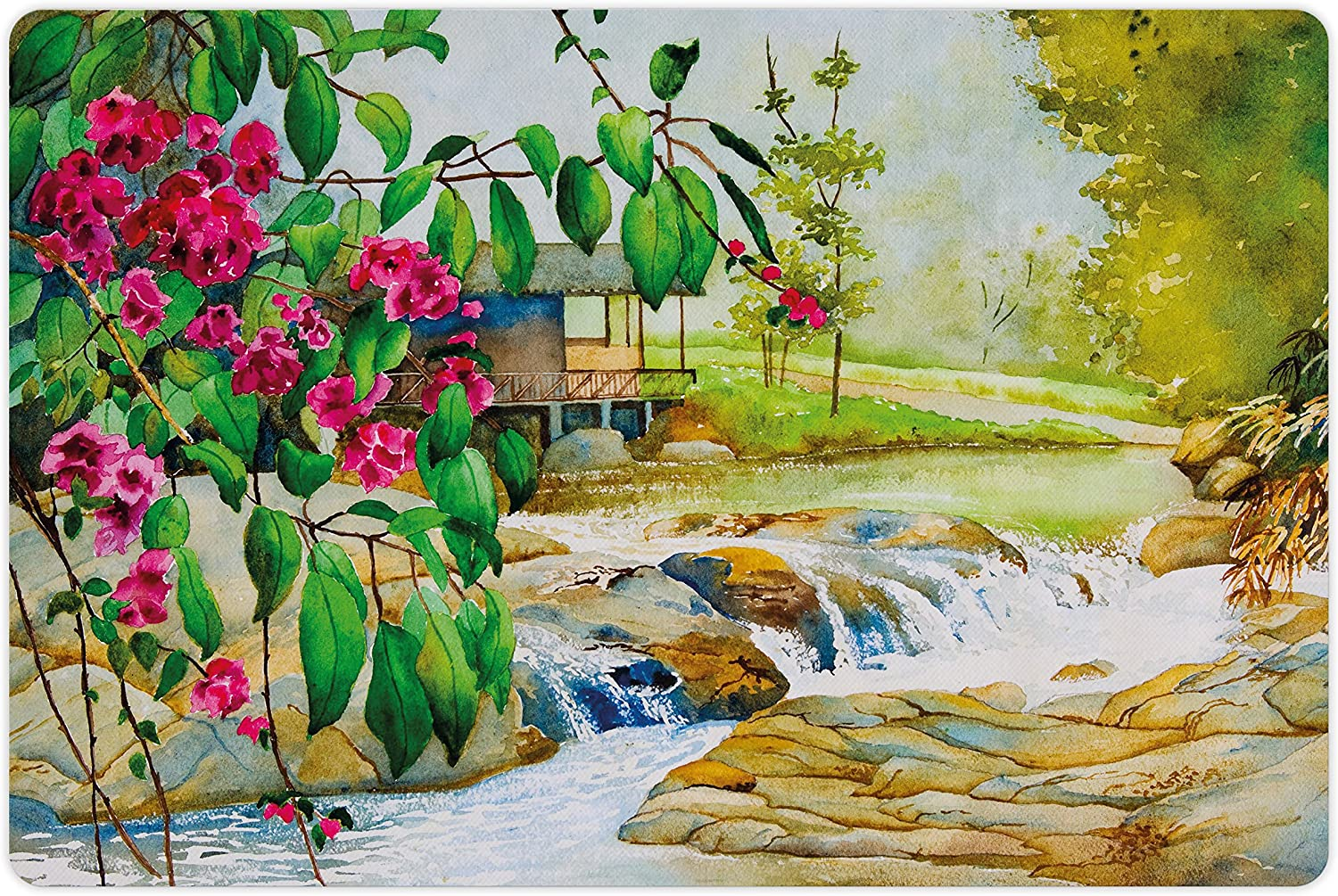 Lunarable Landscape Pet Mat for Food and Watercolor Spring new work one after Max 52% OFF another Paint Water