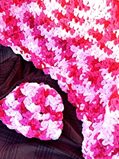 Bulky Pinks Afghan and Baby Hat