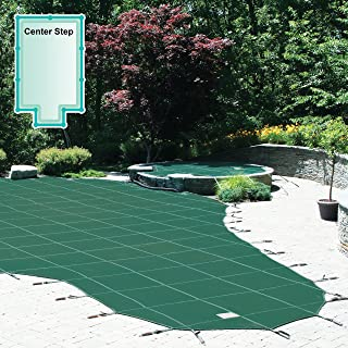 Meyco 20 x 40 Foot Rectangle Safety Pool Cover with 4 x 8 Foot Center End Step
