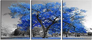 Youk Art Canvas Print Wall Art Painting Contemporary Blue Tree In Black And White Style Fall Landscape Picture Modern Giclee Stretched And Framed Artwork (Size 16x36inch) Gift