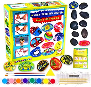 Non-Toxic Rock Painting Kit for Kids - All Supplies Included - 10 River Rocks for Painting, Acrylic Paint Set, Rock Art Supplies for Kids Crafts & Adult Craft Kit for Hide and Seek or Kindness Rocks