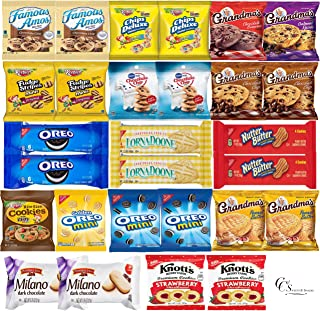 Cookies Variety Pack Bulk Assorted Individually Wrapped Cookies Snack Box & Care Package (28 count) includes Gramdmas Cookies, Famous Amos, Oreos, Keebler Cookies, Pepperidge Farm Cookies and More