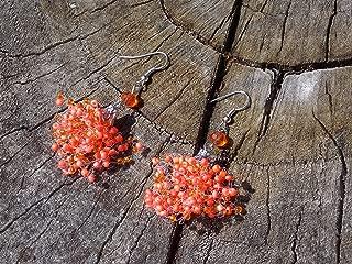 Terracotta handmade earrings Orange jewelry Seed beads crystal air Beaded Bridesmaid gift Wedding trending drop chandelier