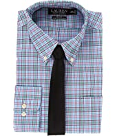 LAUREN Ralph Lauren Non Iron Poplin Slim Button Down Collar Plaid Dress Shirt