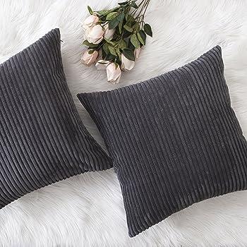 HOME BRILLIANT Decor Soft Decorative Striped Corduroy Velvet Square Throw Pillow