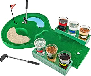 Fairly Odd Novelties FON-10179 Table Golf Shot Glass Drinking Game Set Makes A Golfer Fathers Day Birthday White Elephant Gag Gift, Standard, Green