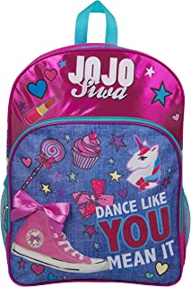 JoJo Siwa Bow Backpack Ruck Sack Bolso de Hombro Denim Large Pocket Print Pack Unicorn Bow y Brillo Detalles School Holid...