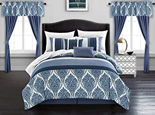 Chic Home Vivaldi 20 Piece Comforter Set Medallion Quilted Embroidered Design Complete Bag Bedding – Sheets Decorative Pillows Shams Window Treatments Curtains Included, Queen Blue