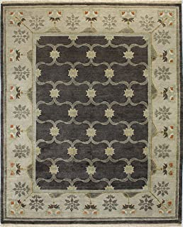 Bashian Vintage Collection HSA110 Hand Knotted 100% Wool Area Rug, 7.9' x 9.9', Chocolate